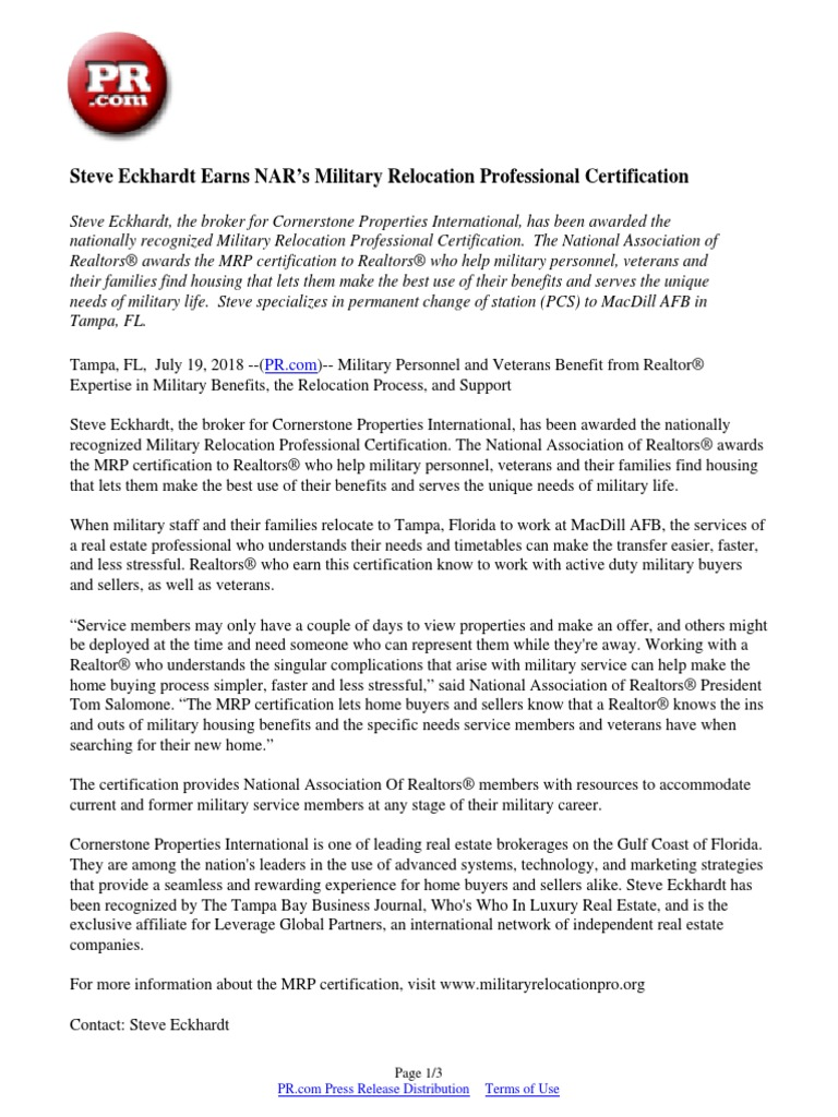 Steve Eckhardt Earns Nars Military Relocation Professional