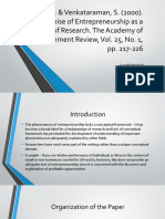 """Review of """"The Promise of Entrepreneurship as a Field of Research"""""""