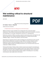 Wet Welding Critical to Structural Maintenance - Offshore