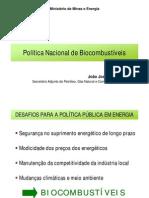 a política nacional de biocombustíveis