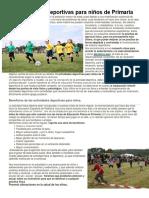 10 Actividades Deportivas Para Niños de Primaria