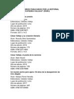 Lista de Libros Publicados Por La Editorial Cátedra Vallejo