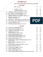 Water & Wine full wine list