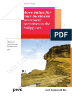 Pwc Investment Incentives in the Philippines 2015
