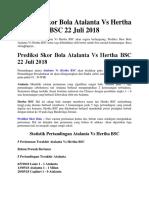 Prediksi Skor Bola Atalanta vs Hertha BSC 22 Juli 2018