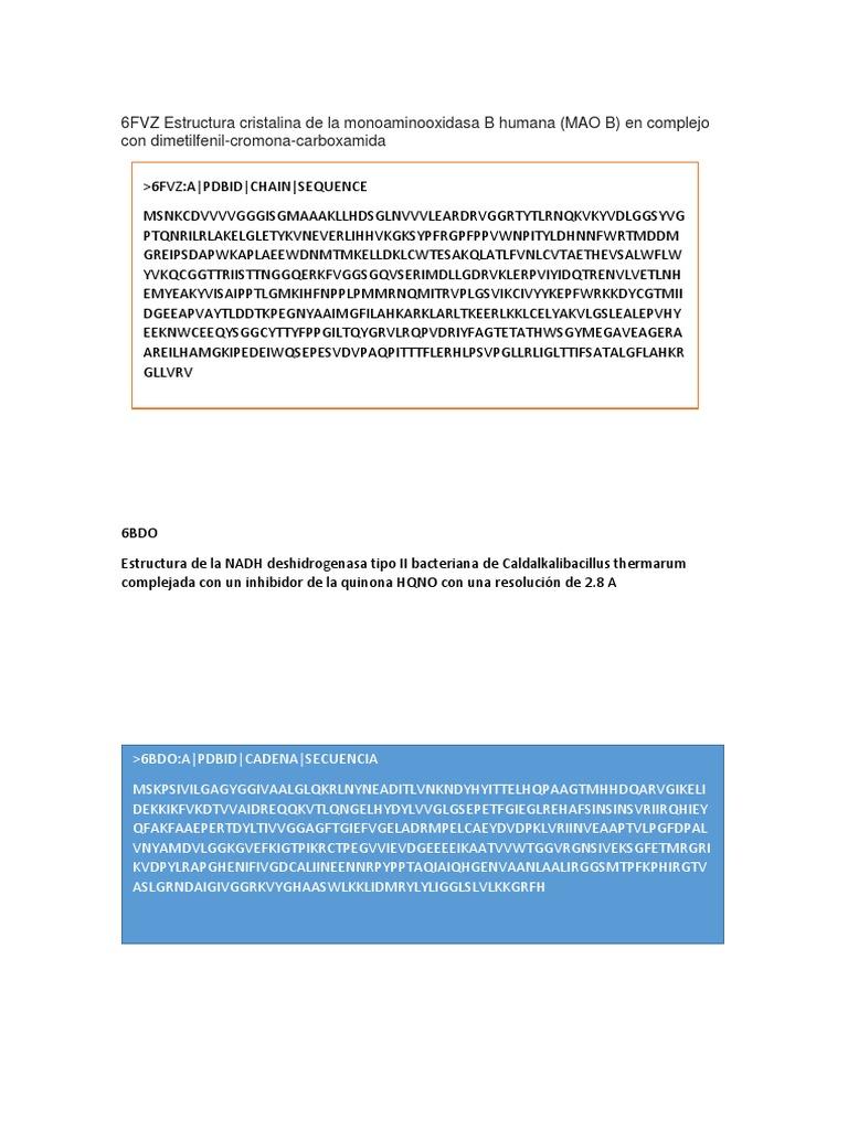 6fvz Estructura Cristalina De La Monoaminooxidasa B Humana Docx