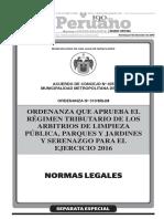 Ordenanza Que Aprueba El Regimen Tributario de Los Arbitrios Ordenanza n 310msjm y Acuerdo 405 1327525 1