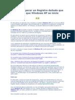 Como recuperar un Registro dañado que impide que Windows XP se inicie
