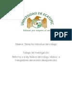 Reforma a la ley federal del trabajo relativo  a trabajadores declarados desaparecidos
