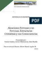 ALEACIONES FERROSAS Y NO FERROSAS, ESTRUCTURAS CRISTALINAS Y SUS CONSECUENCIAS (equipo 3).doc