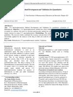 UV Spectrophotometric Method Development and Validation for Quantitative Estimation of Mebendazole