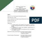 Activity Completion Report QUARTER RECOGNITION
