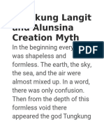 Tungkung Langit and Alunsina Creation Myth