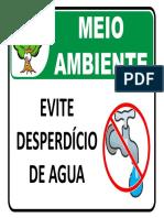 Placa de Sinalização Ambiental - Desperdício de Agua