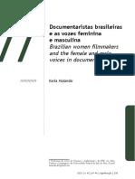 HOLANDA, Karla. Documentaristas brasileiras e as vozes feminina e masculina