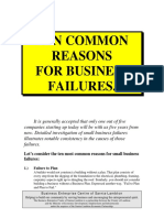 Ten Common Reasons for Business Failures