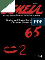 Semeia 65 Orality and Textuality