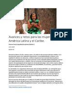 Avances y retos para las mujeres en América Latina y el Caribe.