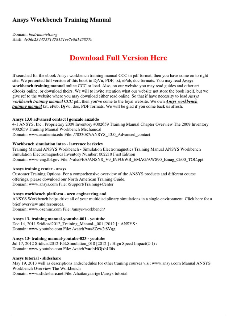 Ansys 14 Training Manual Powerpoint Replacement For Workbench Youtube Nonlineardynamics 9 Array E Books Computing Rh Scribd