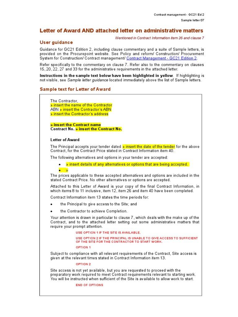 Appendix I Template Letter Of Acceptance Professional Liability