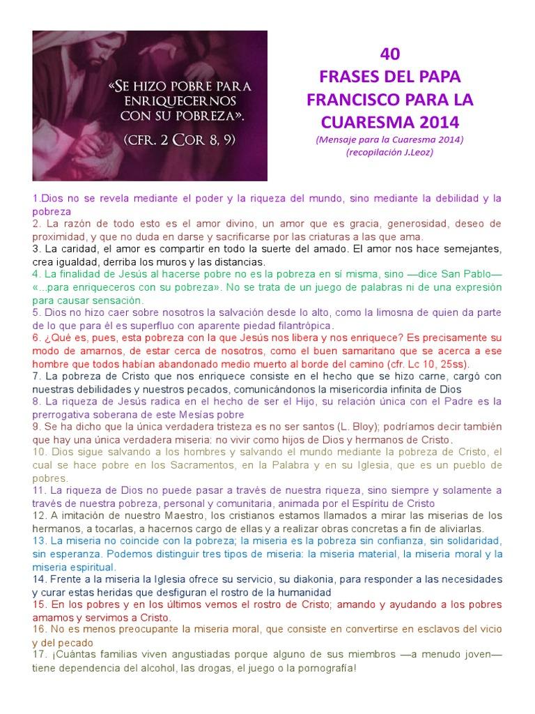 40 Frases Del Papa Francisco Para La Cuaresma 2014