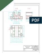Dibujo de una pieza mecánica en cortes por sección 2D