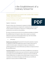 A Plan for the Establishment of a proposed Library School for Chile
