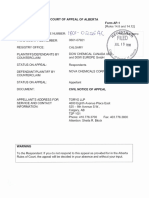 Notice of appeal document in case involving the E3 plant in Alberta.