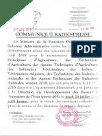 Communique Radio Presse Retrait Des Ccps Et Mad Concours Directs Agriculture Elevage Et Peches Session Avril 2018