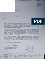 Notificación  de la Contraloría al alcalde de Colcapirhua