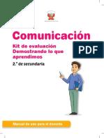 Comunicación, kit de evaluación Demostrando lo que aprendimos, 2do. secundaria manual de uso para el docente.pdf