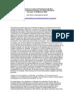 ARANA, Juan (2006) Intervención en El Acto de Presentación Del Libro