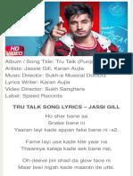 TRU TALK LYRICS - Jassi Gill & Karan Aujla   True Talk