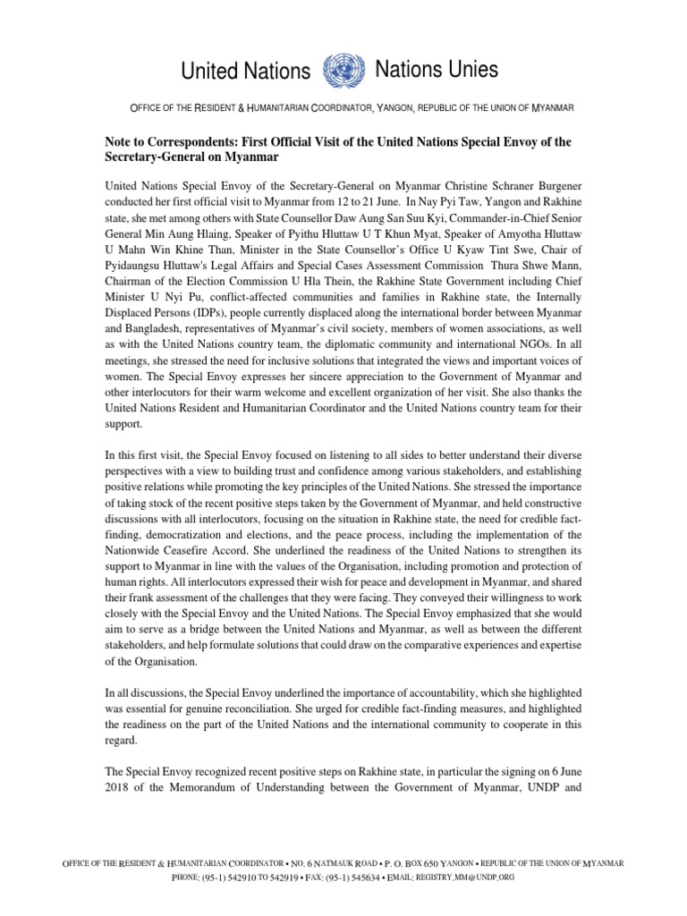SESG Statement 21 June 18 | Myanmar | Internally Displaced Person