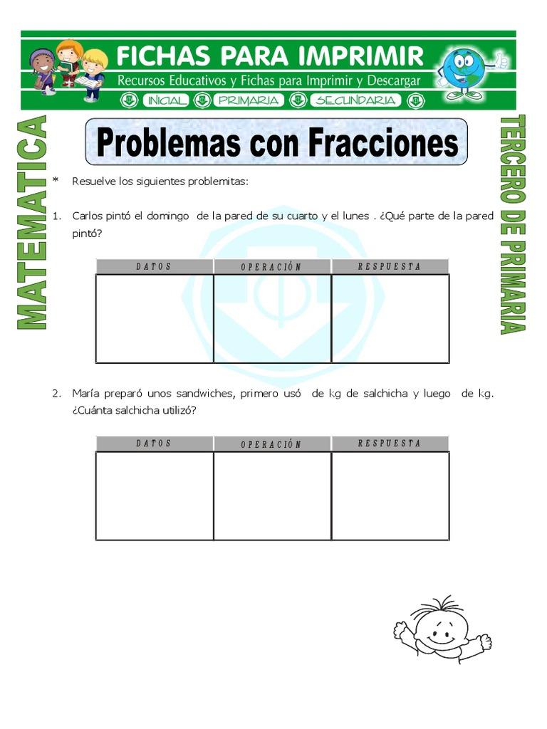 Ficha Problemas Con Fracciones Para Tercero de Primaria