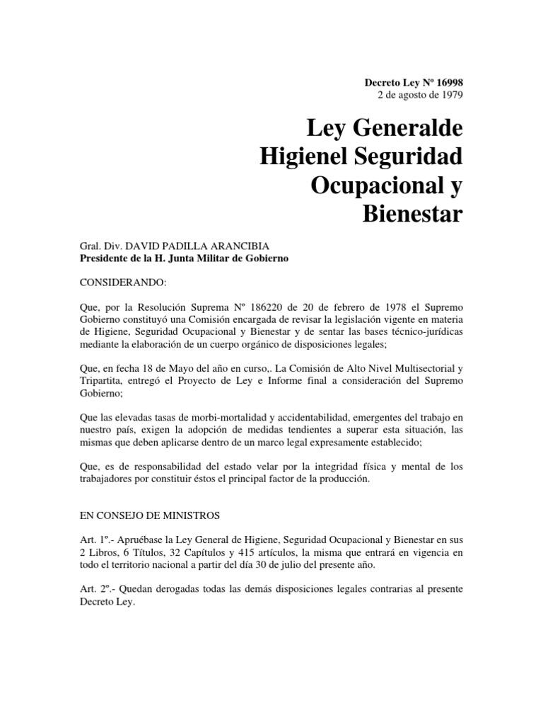 Ley General de Higiene, Seguridad Ocupacional y Bienestar (DL N ...