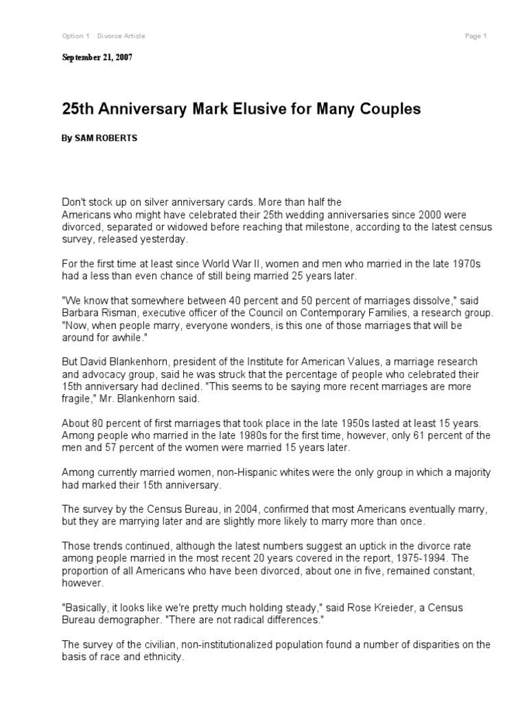 25th Anniversary Article Marriage Non Hispanic Whites
