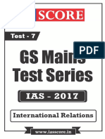 GS Score 2017 Mains Test 7 With Solutions - IR