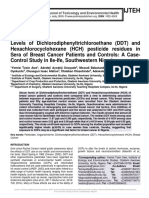 Levels of Dichlorodiphenyltrichloroethane (DDT) and Hexachlorocyclohexane (HCH) pesticide residues in Sera of Breast Cancer Patients and Controls