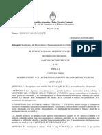 MODIFICACIONES A LA LEY DE FINANCIAMIENTO DE LOS PARTIDOS POLÍTICOS