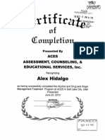 Alex Hidalgo Certificate of Completion of Anger Management