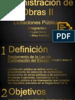 Administración de Obras II, Licitaciones PUBLICAS