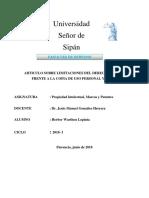 Limitaciones Del Derecho de Autor Frente a La Copia de Uso Personal y Privado