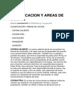 Clasificacion y Areas de Cocina