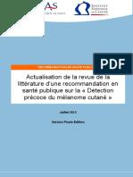 Actualisation Revue Litterature Melanome Cutane HAS INCa