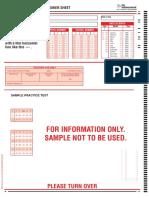 PPTC Sample Familiarisation Mathematics Answer Sheet (OMR)