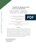 Matrix Model for Riemann Zeta via Its Local Factors