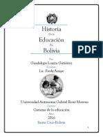 Historia de La Educacion en Bolivia Monografia Oficial