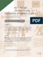 Literatura y Poder. Sobre La Potencia Del Testimonio en América Latina