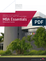 Usb Executive Development Mba Essentials Course Prospectus